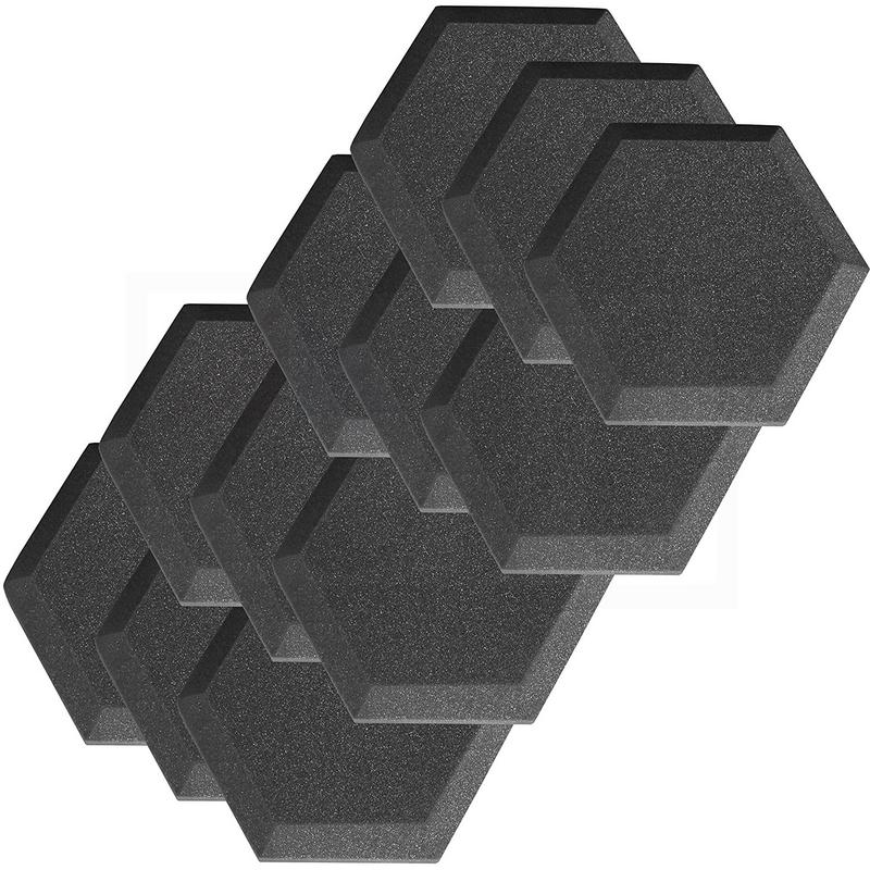 "12 Pack Acoustic Foam Studio Soundproofing Foam Tiles Hexagon Bevel 6"" X 6"" X 1"""