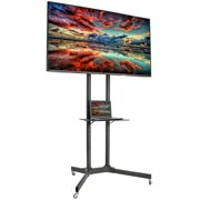 """vivo mobile tv cart for lcd led plasma flat panels stand with wheels 