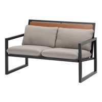 Deals on Mainstays Lindholm Way Patio Loveseat with Gray Cushions