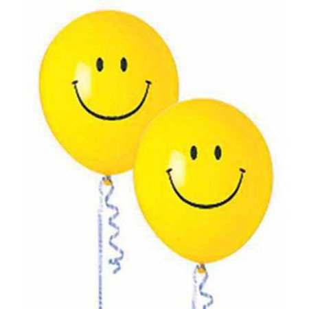 Smiley Face Latex Balloons, 50pk - Smiley Face Balloons