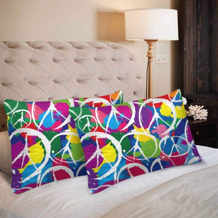 GCKG Seamless Pattern Multicolor Peace Sign Symbol Pillow Cases Pillowcase 20x30 inches Set of 2 - image 1 of 4