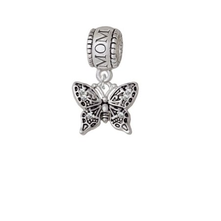 Small Antiqued Crystal Butterfly - Mom Charm Bead (Mom Charm Bead)