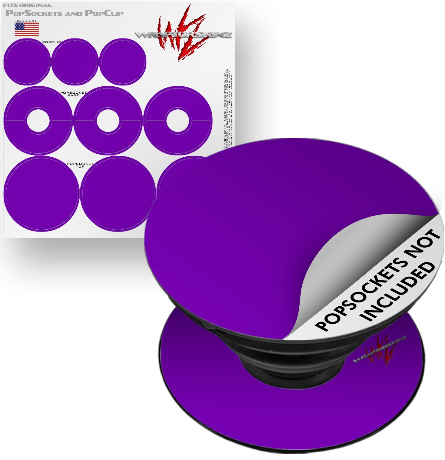 Decal Style Vinyl Skin Wrap 3 Pack for PopSockets Solids Collection Purple (POPSOCKET NOT INCLUDED) by WraptorSkinz