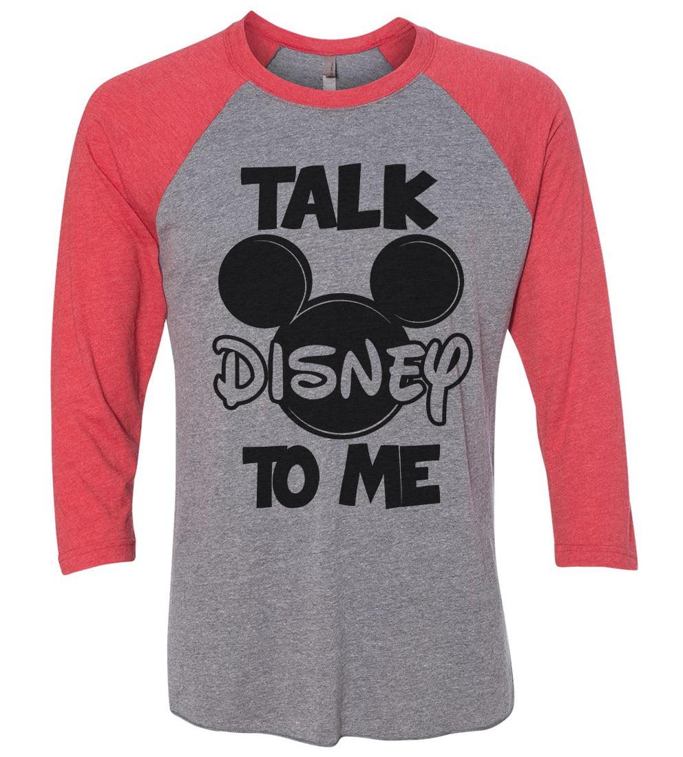 "Womens Mickey Mouse Raglan "" Talk Disney To Me "" Disney World 3/4 Sleeve Baseball Tee Gift X-Small, Grey/Red"