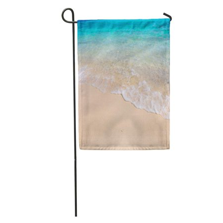 KDAGR Blue Water Tropical Beach White Coral Sand and Calm Wave Colorful Shore Ocean Garden Flag Decorative Flag House Banner 28x40 inch ()