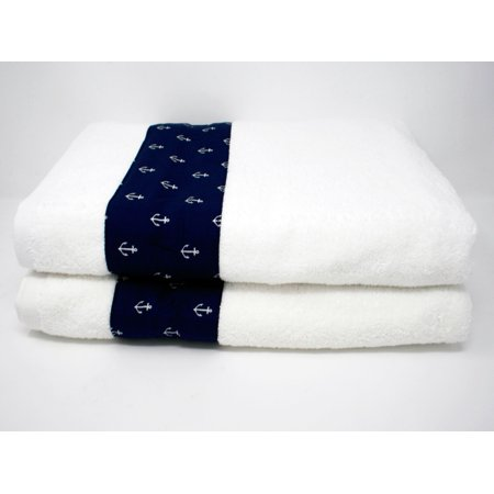Nautica Towels (Nautical Designer Navy Anchor Bath Towel Set - 2PCS -)