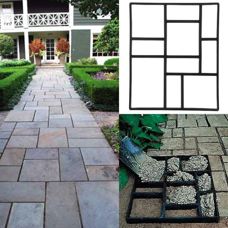 Topeakmart Garden Concrete Paving Pathway Patio Path Brick Stepping Stone Mould Black