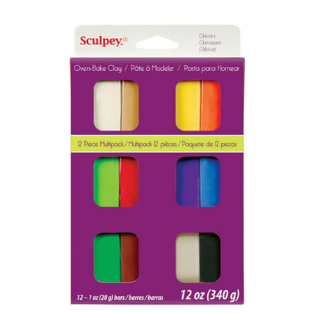 Sculpey Assorted Classics Oven-Bake Clay, 1 ounce each, 12 Pieces