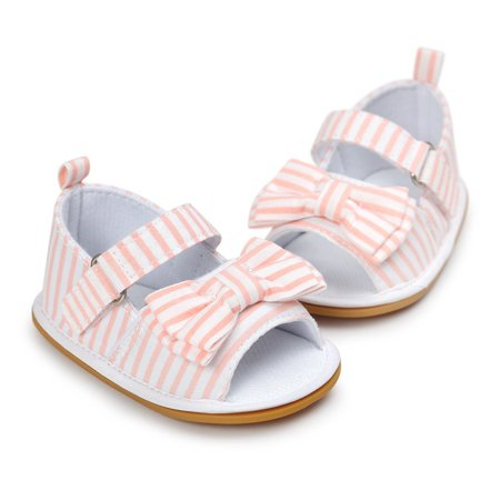 Newborn Baby Girl Bow Non-slip Princess Crib Shoes Summer Sandal Prewalker  Pink 0-6M