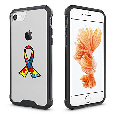 For Apple iPhone Clear Shockproof Bumper Case Hard Cover Autism Awareness Ribbon Puzzle Color (Black For iPhone 6 / 6s) for $<!---->