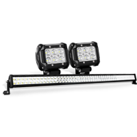 Nilight 52 Inch 300W Combo LED Light Bar, 2PCS 4 Inch 18W Flood LED Pods for Offroad, ATV, JEEP , Boat Lighting, 2 years Warranty