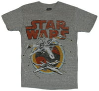 Star Wars Mens T-Shirt - Double Distressed X-Wing Over Circle Logo image