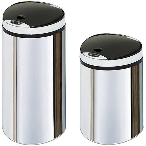 The Smart Bin Motion Sensor 3 and 16-Gallon Combo Trash and Recycling Bin Duo, Stainless Steel