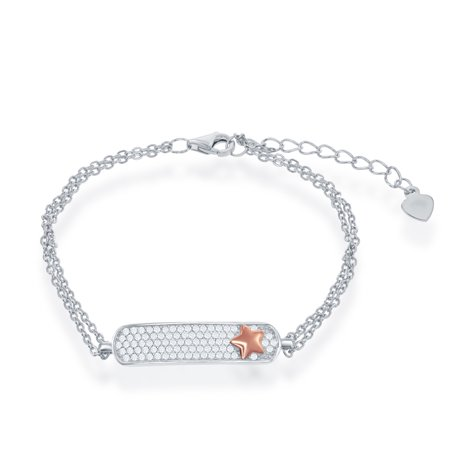 Pave Star Bracelet (Sterling Silver Bar ID Zirconia Micro Pave Setting w/ 14k Rose Gold overlay Star Double Strand 6+1