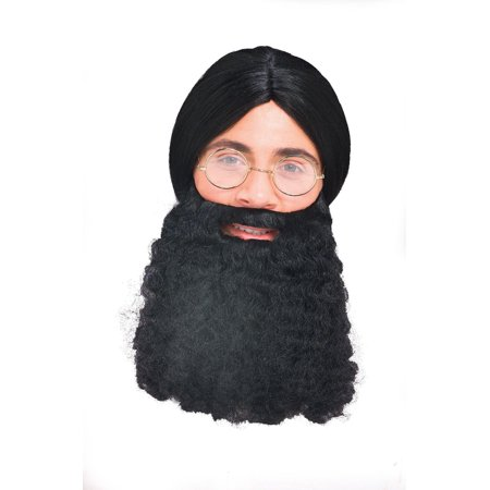 Adult Mens Brown Hippie Curly Jesus Beard Costume Facial Hair Accessory - Long Hair And Beard Halloween Costume Ideas