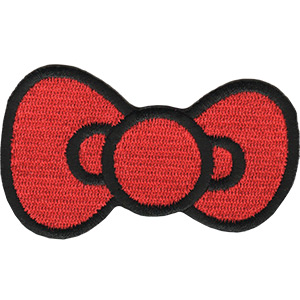 "Hello Kitty Bow, Officially Licensed, Iron-On / Sew-On, Embroidered PATCH - 1.75"" x 2.9"""