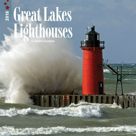 Lighthouses  Great Lakes 2018 12 X 12 Inch Monthly Square Wall Calendar  Usa United States Of America Nature Lake