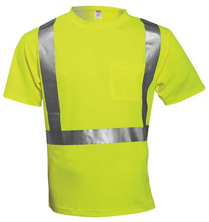JOB SIGHT S75022 Hi-Vis T-Shirt, Short Sleeve, Lime, XL