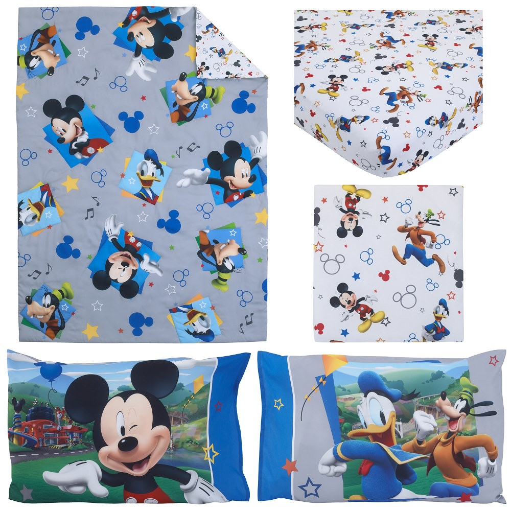 Disney Mickey Mouse Having Fun 4-Piece Toddler Bedding Set