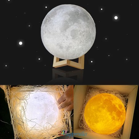 Kraft Paper Package  10CM with Solid Wood Scaffold Yellow+White Switchable Adjustable Light Moon light lamp 3D Printing Bed Light Charging Moon Lamp Edible Grade Degradable PLA](Rice Paper Lamp)