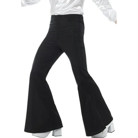 Mens 70s Groovy Disco Fever Flared Black Pants Costume - Men Disco Pants