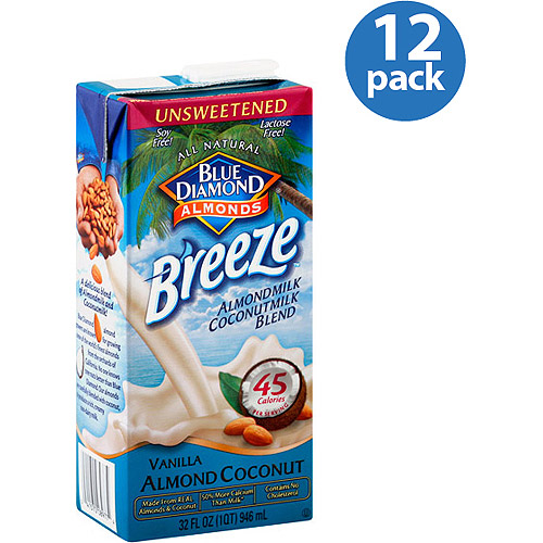 Blue Diamond Almond Breeze Unsweetened Vanilla Almondmilk Coconutmilk Blend, 32 oz, (Pack of 12)