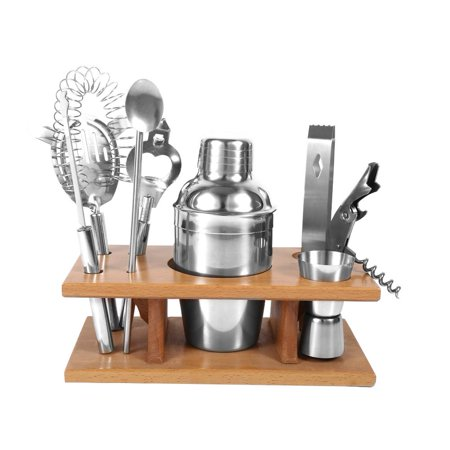 Ejoyous Cocktail Kit,8pcs Stainless Steel Cocktail Shaker Mixer Drinker with Wood Holder Stand Drinking Tool Bar Set, Cocktail Shaker Set - image 1 de 7