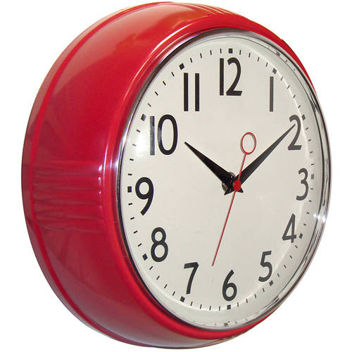 "Better Homes and Gardens Retro 9.5"" Round Kitchen Wall Clock"