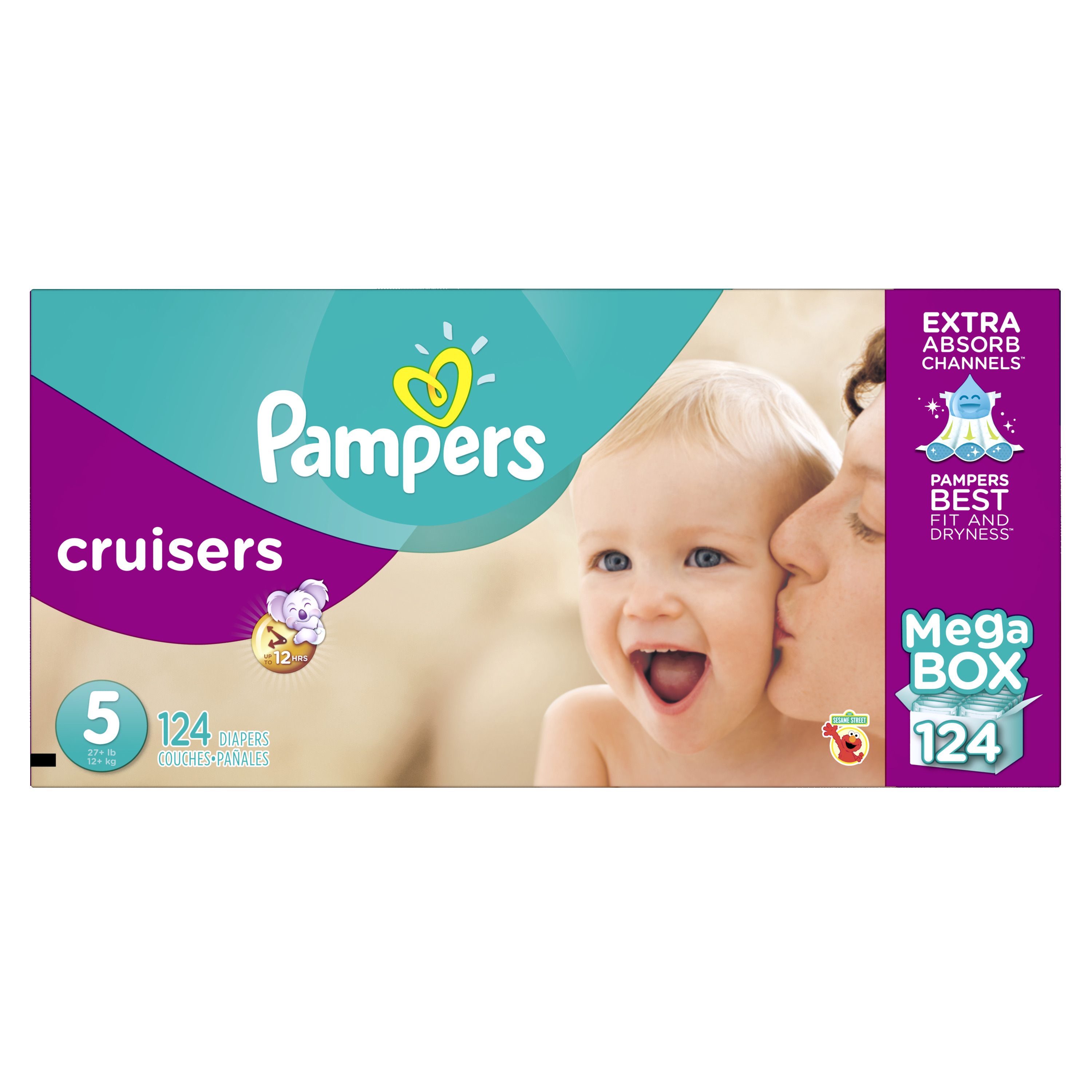 Product of 'Pampers' Cruisers Size 5 Diapers; 124 ct. - Bulk Qty, Free Shipping - Comfortable, Soft, No Leaking & Good nite Diapers