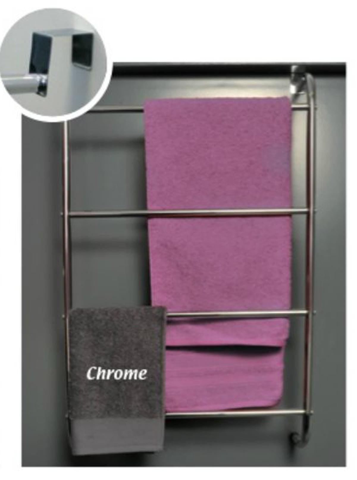 Over-The-Door 4 Bathroom Metal Towel Bars Organizer Rack Color Chrome by Evideco