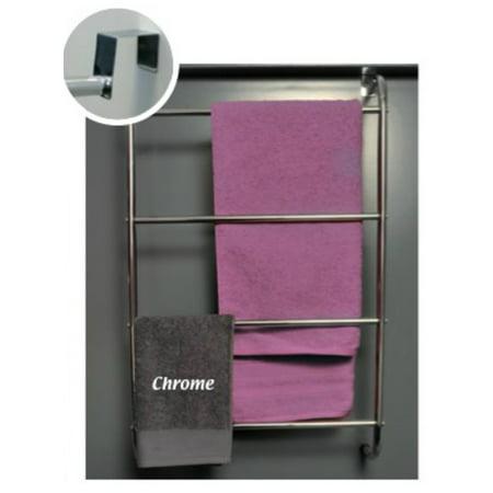Over The Door 4 Bathroom Metal Towel Bars Organizer Rack Color Chrome
