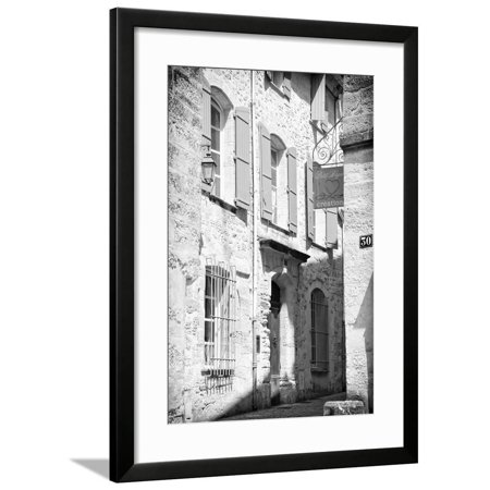 France Provence B&W Collection - Provencal Facade III - Uzès Framed Print Wall Art By Philippe Hugonnard