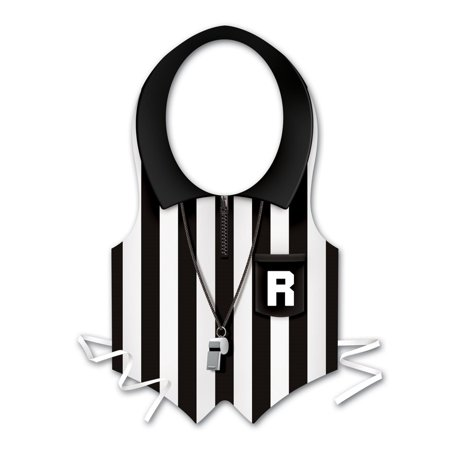 Club Pack of 24 Black and White Plastic Referee Vest Costume Accessories