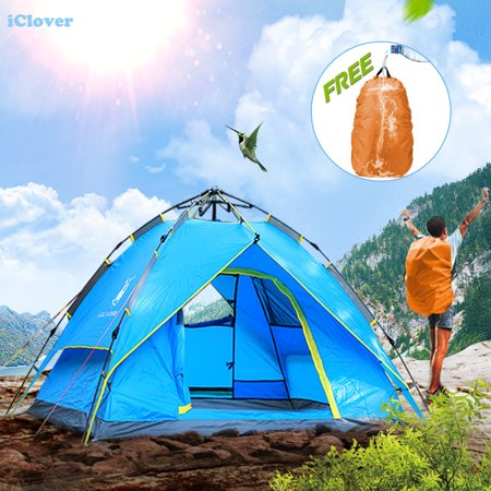- 3/4 People Waterproof Hydraulic Automatic Camping Tent + Free Backpack Rain Cover, IClover Portable Pop Up Camping Family Sun Shelter Tents Cabana Anti-mosquito for Outdoor Hiking Sleeping Napping