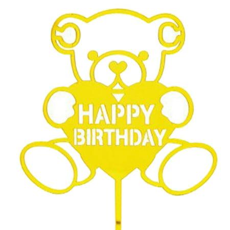 Happy Birthday Girl Boy Cake Topper Acrylic Cartoon Birthday Married Cake Top Flag