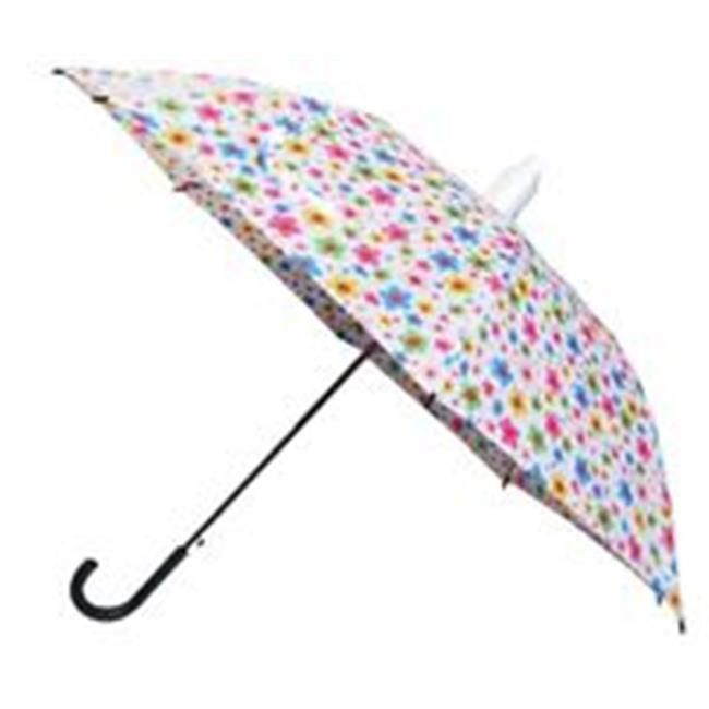 Conch Umbrellas 1089BRed 43 inch Automatic Open Median Stick With Drip Less Cup Over The Umbrella