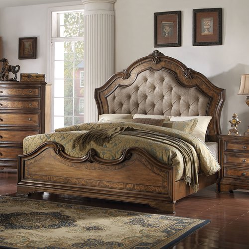 ACME Valleta Eastern King Panel Bed, Fabric & Latte Oak by Acme Furniture
