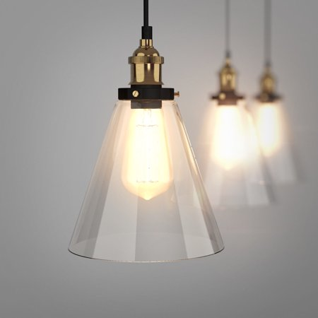 Gymax Vintage Style Industrial Edison Ceiling Pendant Glass Hanging Light 1-light Bulb