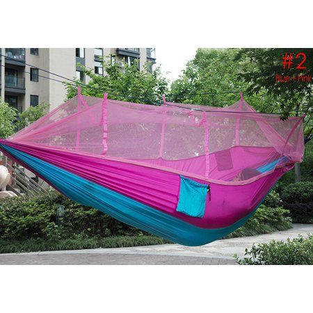 Outlife Single Person Hammock,Portable Parachute Fabric Mosquito Net for Indoor Outdoor Use BLUE AND PINK