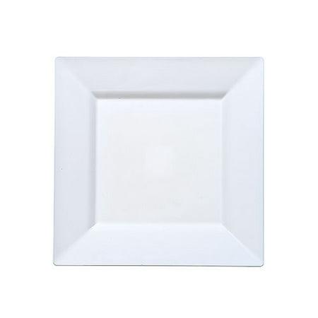 Lillian Plastic Dinnerware Plastic Plates, Square, 6.5
