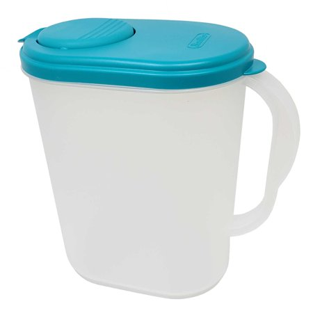 1 Gallon/3.8 Liter Heavy Duty Plastic Measuring Pitcher with See Through Base, Leak Proof Spill Proof Blue Lid w/Pivot Spout Lid, BPA-free (1 Liter Glass Pitcher With Lid)