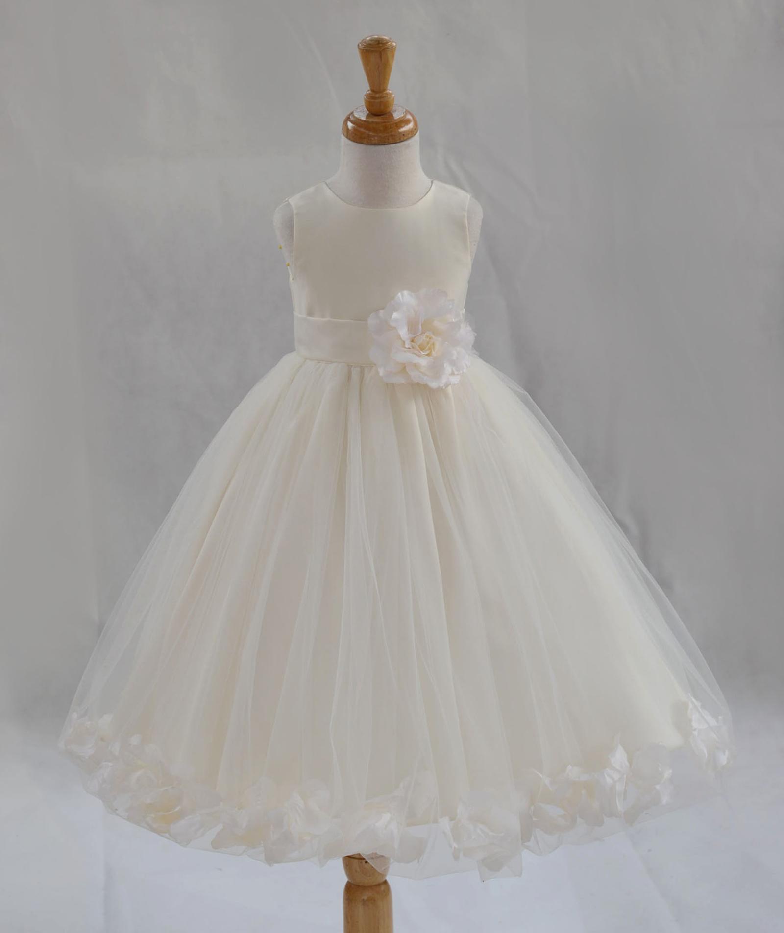 IVORY ROSE Flower Girl Dress Wedding Bridesmaid Formal Recital Graduation Party