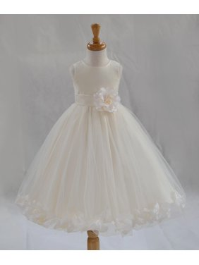 Ekidsbridal Formal Poly Satin Rose Petals Tulle Ivory Flower Girl Dress Bridesmaid Wedding Pageant Toddler Recital Easter Communion Graduation Reception Ceremony Birthday Baptism Occasions 302T