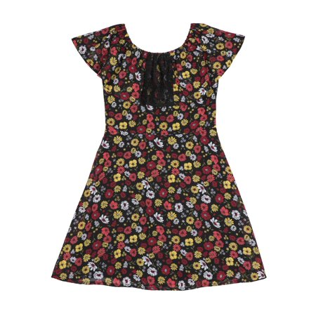 Girl Dress Sale (Girls' Ruffle Lace Collar Floral Chiffon)