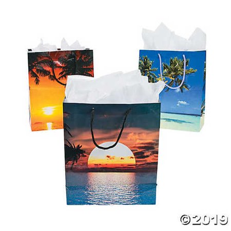 Sand and Sun Gift Bags Luau Party (12 Pack) Paper. - Luau Gift Bags