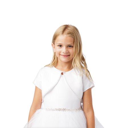 Girls White Short Sleeved Rhinestone Trim Satin Bolero Jacket