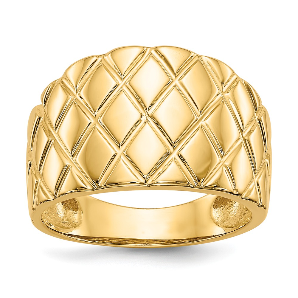 14k Yellow Gold Marquise Pattern Dome Ring