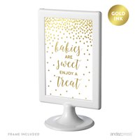 Metallic Gold Confetti Polka Dots 4x6-inch Party Signs, Babies Are Sweet, Enjoy a Treat, Includes Frame