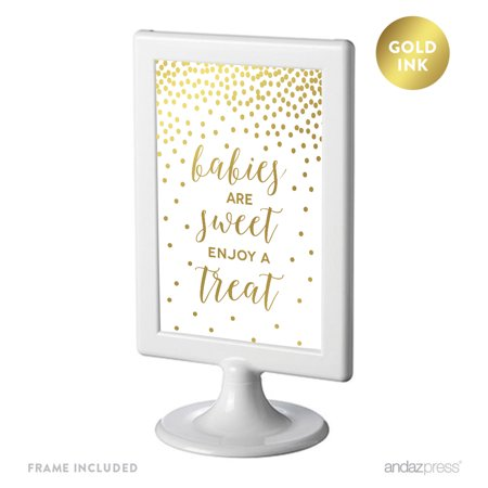 - Metallic Gold Confetti Polka Dots 4x6-inch Party Signs, Babies Are Sweet, Enjoy a Treat, Includes Frame