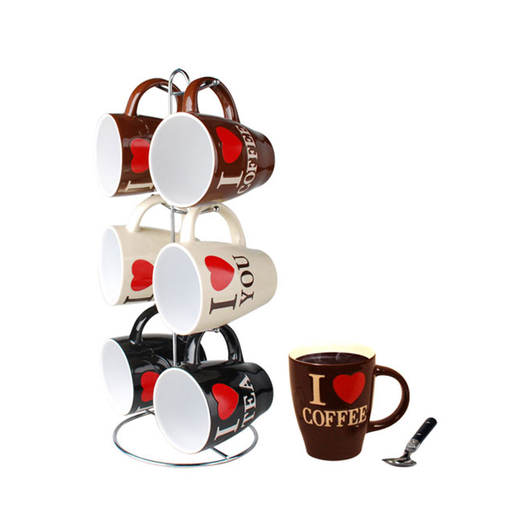 Home Basics 6-Piece Mug Set with Stand